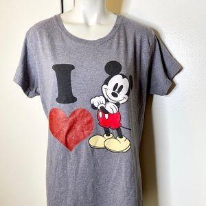 Disney I LOVE Mickey Mouse Grey Tshirt XL